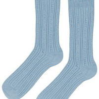 Luxe Cable Ankle Socks - Pale Blue