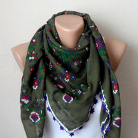 green scarf red flower green purple white cotton turkish yemeni oya handmade