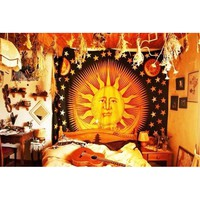 Sun and Moon Indian Bedspread Wall Hanging Tapestry Bedspread Hippie Wall Decor Beach Throw