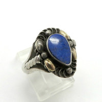 Vintage Lapis Ring, Sterling Silver Blue Lapis Antique Finish Band, Size 8.5