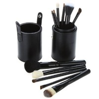 Dr K's Makeup Brushes-12 Piece Luxury Makeup Brush Set in Vegan Leather Case - High Quality Natural Hair Make up Cosmetic Brushes Set Kit Eyeshadow Eyebrow Eyelash Eyeliner Lip Powder Blush Face Brush (Black)