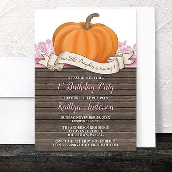 Pumpkin 1st Birthday Party Invitations Girl - Rustic Wood Orange Pink Lace and Brown - Printed Invitations