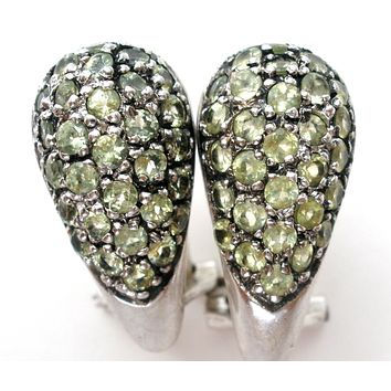 Peridot Sterling Silver Earrings Vintage