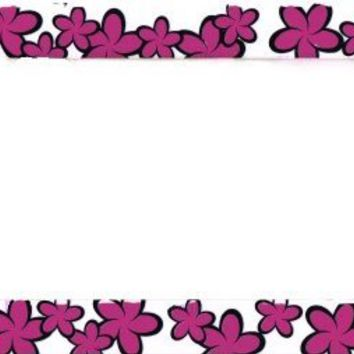 Island Flowers Pink Plastic License Plate Frame