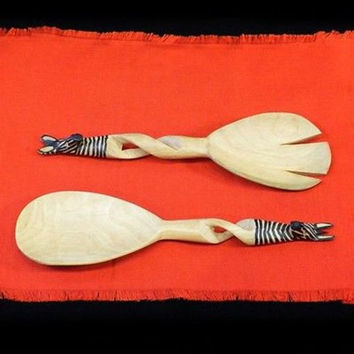 Hand-Carved Zebra Salad Tongs - Jedando Handicrafts