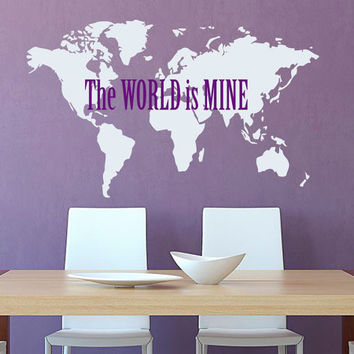 World Map Wall Decal Quote The World Is Mine Earth Vinyl Stickers Map Wall Art Mural Geography Home Interior Design Living Room Decor KY156