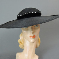 50s Black Straw Wide Brim Hat, Cartwheel Saucer,  Velvet & Rhinestone Trim, fits 22 inch head, 16 inches wide, 1950s Vintage hat