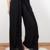Black Wide Leg Wrap Pants