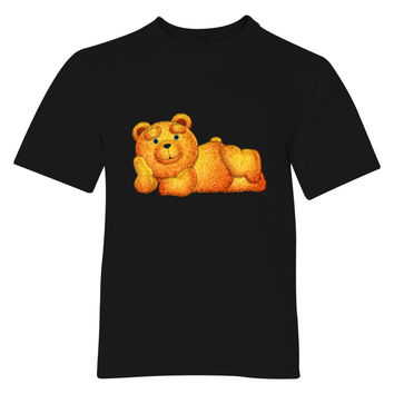 Lazzy Teddy Bear Drawing4 Fluffy Mode Blue Eyes Youth T-shirt