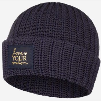Love Your Melon Charcoal And Navy Speckled Cuffed Beanie