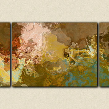 "Oversize contemporary triptych, 30x60 to 40x78 stretched canvas print in earth tones, ""Far Rolling Voices"""