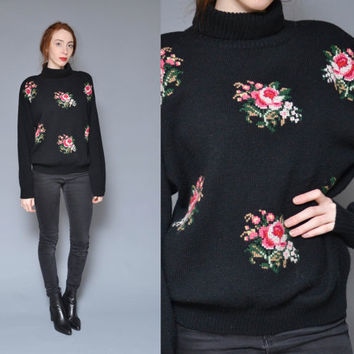 Turtleneck Sweater 80s 90s Floral Sweater Black Needlepoint Rose Design Ditsy Revival Preppy Oversized Pullover Jumper Top M L