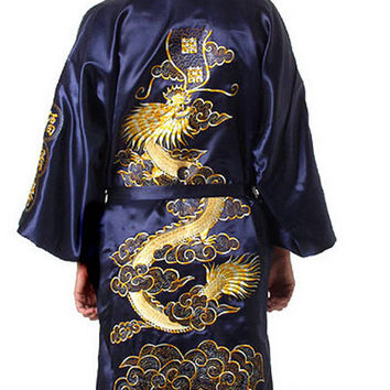 Burgundy Silk Embroidery Dragon Kimono Bathrobe Gown Women Sexy Satin Robe Long Nightgown Size S M L XL XXL XXXL BR040