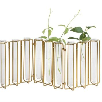 Metal & Glass Jointed Vase with 9 Test Tubes