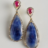 Aaraa blue sapphire, ruby and diamond teardrop earrings | BLUEFLY up to 70 off designer brands