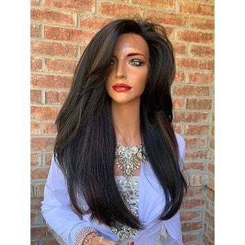 Ombre Black Blonde Hair Wig, Big Full Loose Curls Layered 919 9