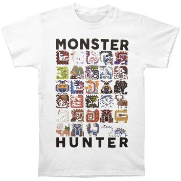 Monster Hunter Men's  Collage Slim Fit T-shirt White