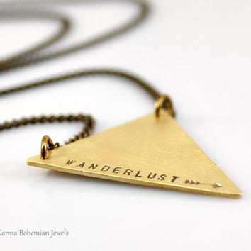 Wanderlust Long Brass Necklace. Personalized Brass Triangle Necklace. Geometric Jewelry. Boho Long Necklace. Layered Necklace