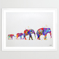 Elephant Family Watercolor illustration Art Print,Wall Art Poster,Home Decor,Wall Hanging,Birthday Gift,Motivational/Inspirational Art,No 12