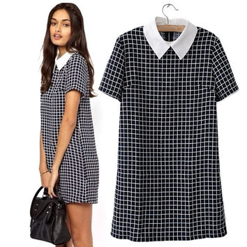Mini Fashion Women Checks Plaids Grids Turn-down Collar Short Sleeve Dress