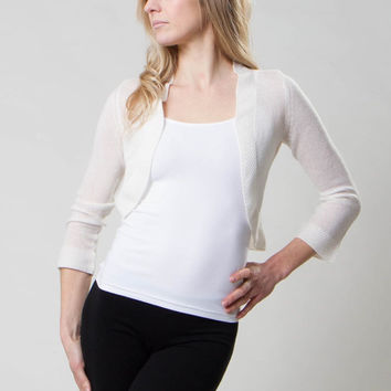 Mesh Cashmere Shrug with Pearl Stitch