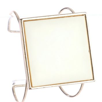 Ivory Square Glass Stone Metal Wire Cuff Bracelet
