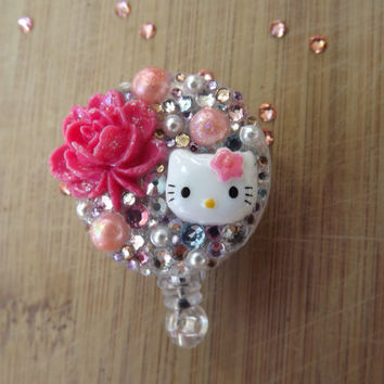 SALE-ID badge  holder Hello Kitty Giant Gorgeous Pink Flower, Pearls & Swarovski Crystals Retractable bling reel