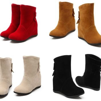 Womens Stylish Bow Desert Wedge Boots