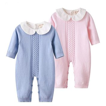 2018 Spring Baby Rompers Baby Girl Long-sleeve Knitted Overalls Infant Girl Princess Cotton Clothes Baby Girl Onesuit