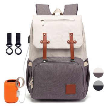 Fashion Diaper Bag/Backpack w/ USB Interface