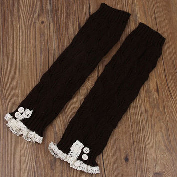 Ready to ship Today - Trendy Women's Dark Brown Knit Button Lace Trim Leaf Leg Warmer- boot socks-Women Leg Warmers-Dark Brown Leg Warmers
