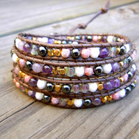 Beaded Leather Wrap Bracelet 4 Wrap with Gold Colorful Mix Czech Glass Beads on Brown Leather Spring Summer Bracelet Pink Purple White