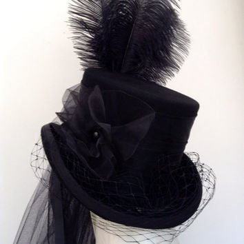 Gothic steampunk black Victorian riding hat