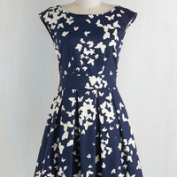 Mid-length Cap Sleeves Fit & Flare Fluttering Romance Dress in Butterfly Silhouettes by Closet London from ModCloth