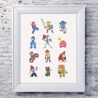 Video Game Wall Art, Old school Videogame, Crash Bandicoot, Mega Man, Zelda Wall Art, Kirby Art, Animal Crossing, Excitebike, Earthworm Jim