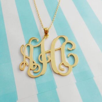 Custom Monogram Charm Necklace,3 Initials Pendant Necklace 1.75 inch,Monogram Script Necklace,Nameplate Necklace Gold,Bridesmaids Gift