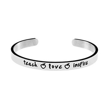 Joycuff Inspirational Teach Stainless Steel Cuff Bangle Bracelets for Teachers Jewelry Gift Encourage Saying Teach Love Inspire