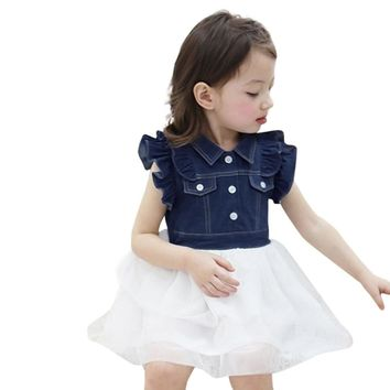 Toddler Kids Baby Girl Summer Princess Denim Patchwork Tulle Tutu Party Dress