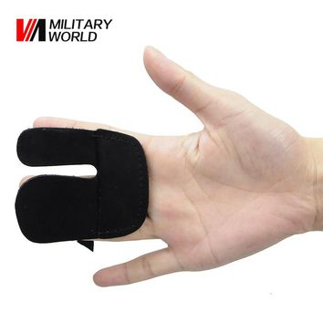 1pc Archery Hunting Shooting 3 Finger Guard Leather Material Finger Tip Safe Gloves For Archery Sport 2 Color