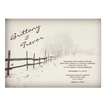 Rustic Country Fence Winter Wedding Invitations