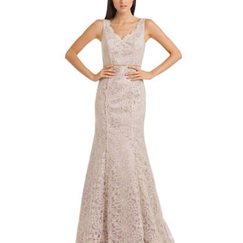 Js Collections Floral Embroidered Fit and Flare Gown