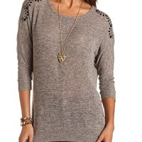 Embellished Shoulder Hacci Sweater: Charlotte Russe