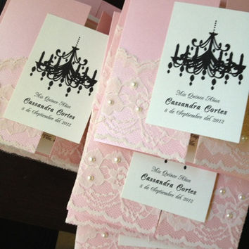 50 Pearls and Lace Chandelier Wedding Invitations - 15th, 16th, 18th, 21st, 30th, 40th, 50th, 60th, Wedding