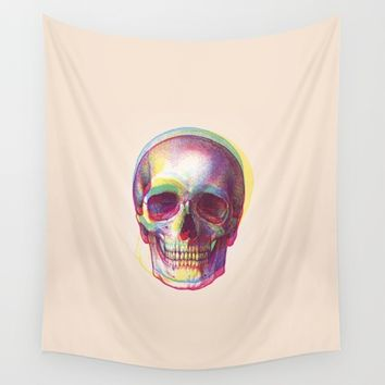 acid calavera Wall Tapestry by Sustici