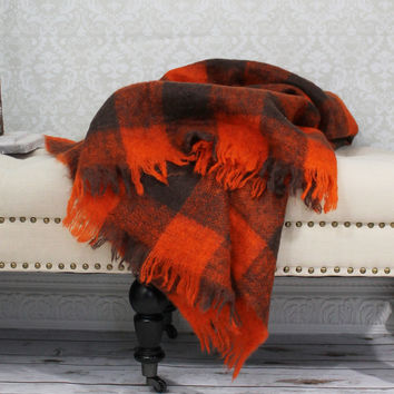 Vintage 1970s Scotland Mohair + Fringe Stadium Blanket + Plaid Throw