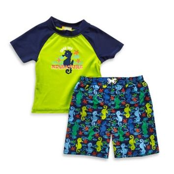 "Baby Buns 2-Piece ""Deep Sea Adventure"" Rashguard Set in Green/Navy"