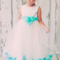 Satin & Tulle Flower Girls Dress w. Organza Sash & Petals in Choice of Color 3M-14