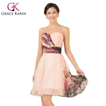 Grace Karin 2017 Floral Print Short Prom Dresses Sweetheart Sexy Classic Party Gowns Chiffon Formal Dress ballkleider CL7501