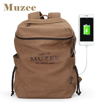 Muzee New Men Backpack Canvas Backpack Bags College Student Book Bag Large Capacity Fashion Backpack 15.6 Inches Mochila