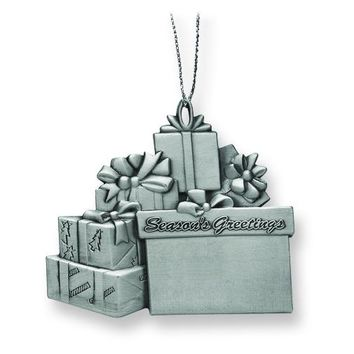 Engravable Pewter Gift Package Ornament